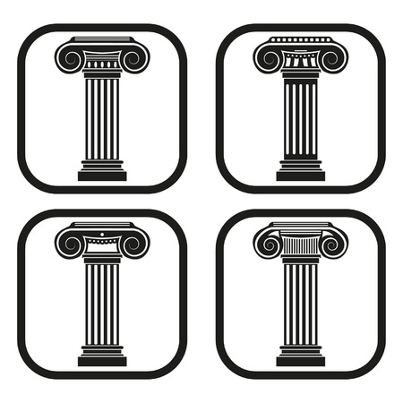 Ancient column icon - four variations Vector