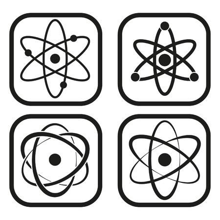 nucleus: Atom icon - four variations Illustration