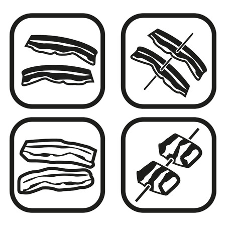 bacon strips: Bacon icon - four variations  Illustration