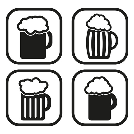 Beer mug icon - four variations Vector