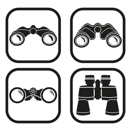 binocular: Binoculars icon - four variations