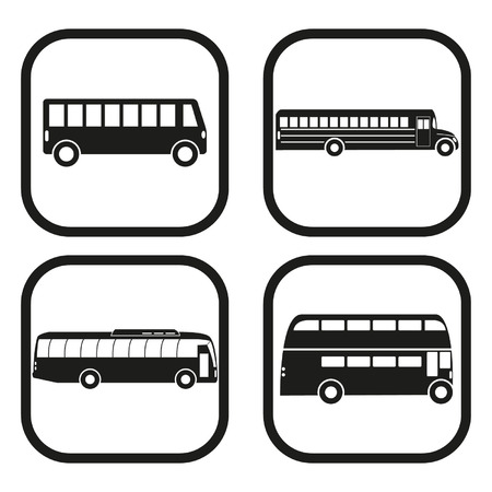 Bus icon - four variations Vector