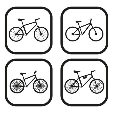 niños en bicicleta: Icono de bicicletas - cuatro variaciones Vectores