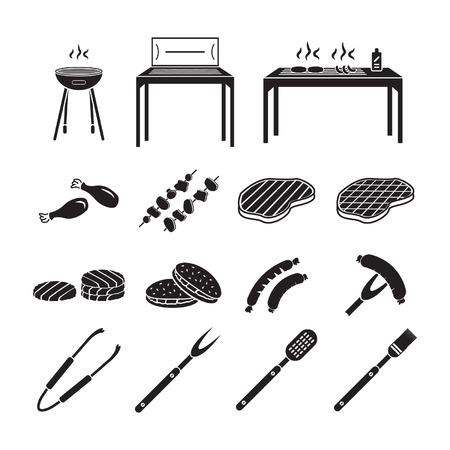Barbecue pictogrammen instellen Stock Illustratie