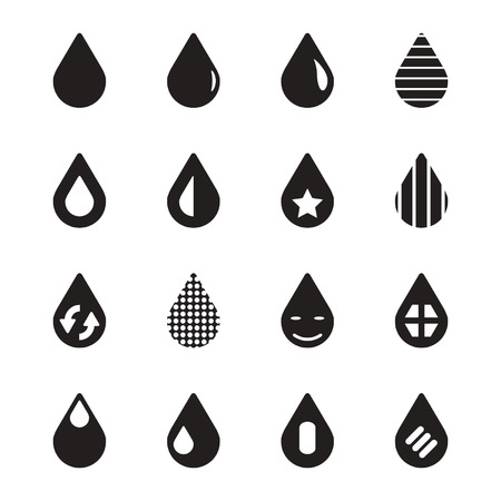 spring water: Water drop icons set