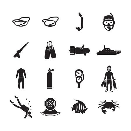 Duiken pictogrammen instellen Stock Illustratie
