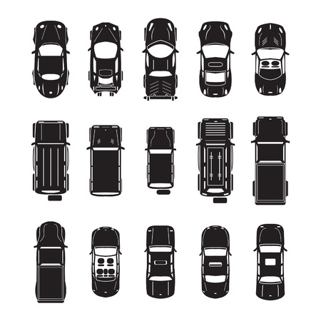 of view: Car icons top view Illustration
