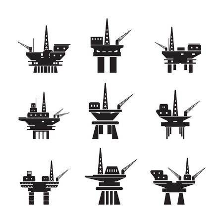 oil exploration: Oil platform icons set