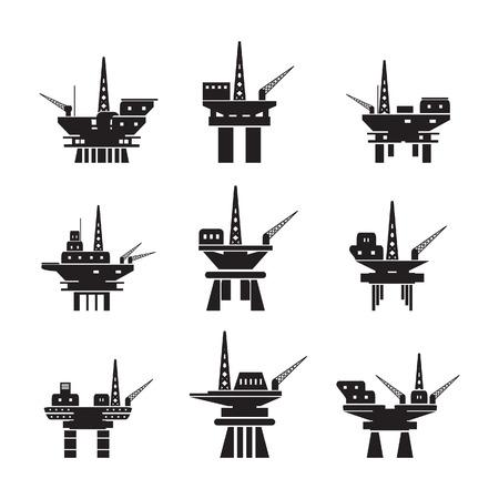 Olieplatform pictogrammen instellen Stock Illustratie