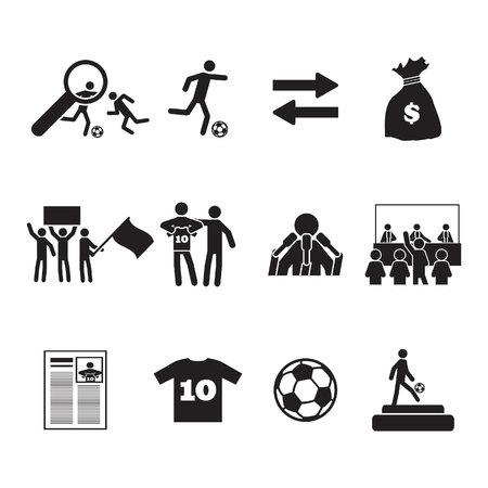 Voetbal of voetbal overdracht pictogrammen instellen