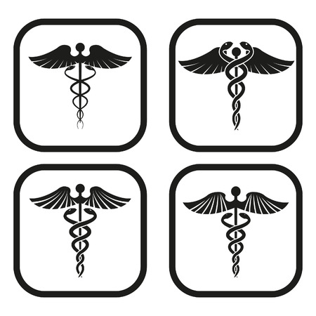 medical symbol: Caduceus symbol - four variations