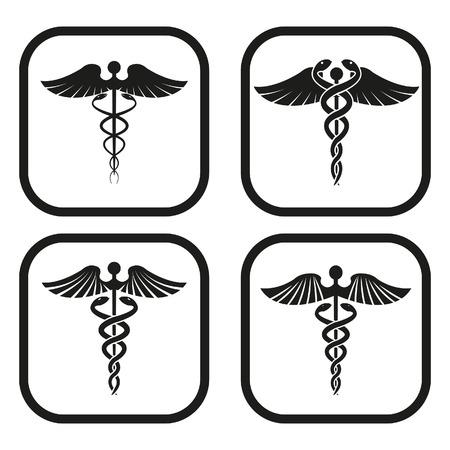 Caduceus symbol - four variations