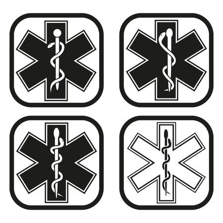 Medical emergency symbol - four variations Vector