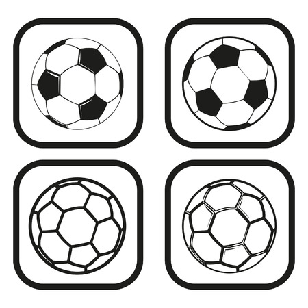 footy: Soccer or football ball icon - four variations