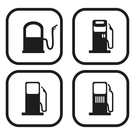 refuel: Gas pump icon - four variations Illustration
