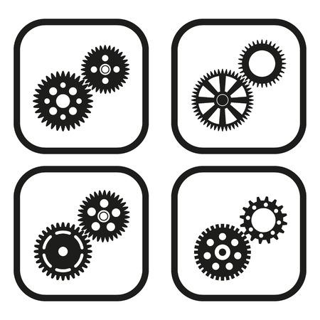 Gears pictogram - vier variaties