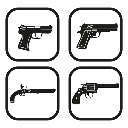 Gun icon - four variations Ilustração