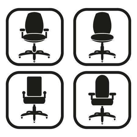 Bureaustoel icoon - vier variaties Stock Illustratie