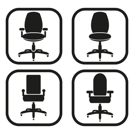 Office chair icon - four variations Vector