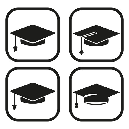 Graduation icon - four variations Vector