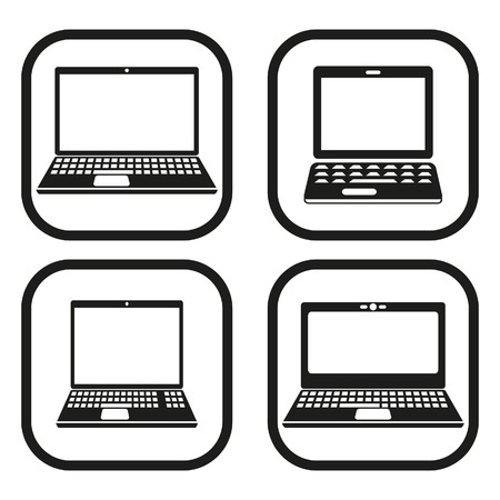 Laptop icon - four variations Vettoriali
