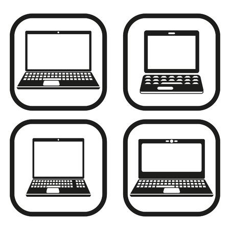 Laptop pictogram - vier variaties Stock Illustratie