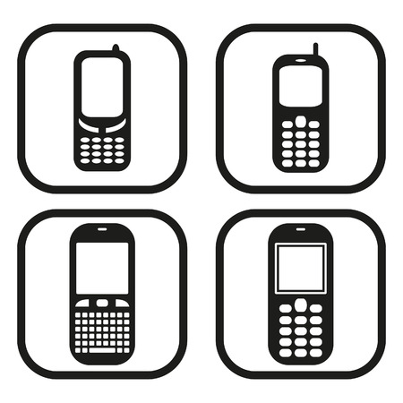 mobil: Mobile phone icon - four variations