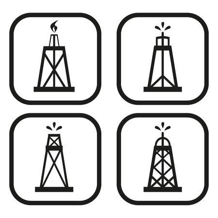 icône de plate-forme pétrolière - Quatre variations Vecteurs