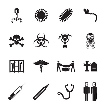 bacteria cell: Epidemic icons set Illustration