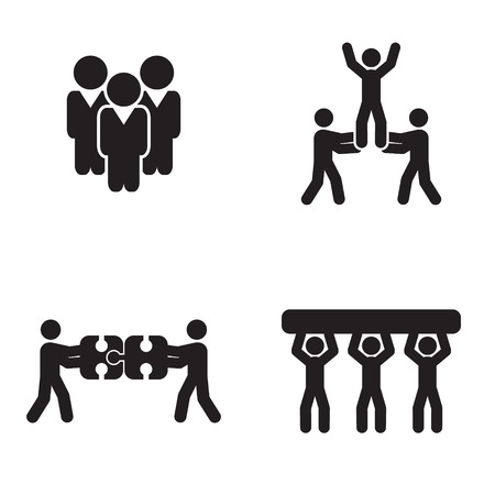 Teamwork icons set Illustration
