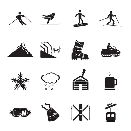 Ski resort icons set Illustration