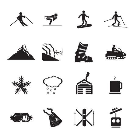 Ski resort icons set Illustration