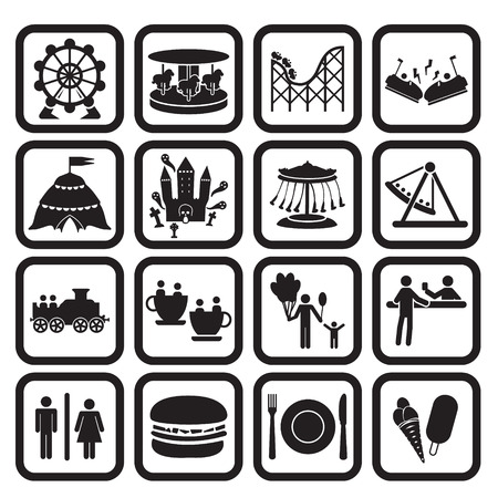 amusement park rides: Amusement park or fanfare park icons set Illustration