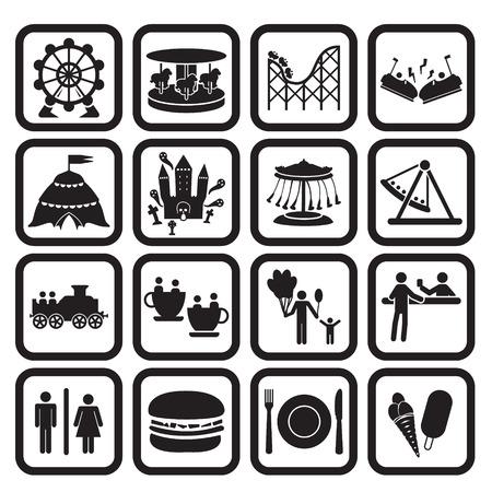 Zábavní park nebo fanfára parku ikony sady Ilustrace