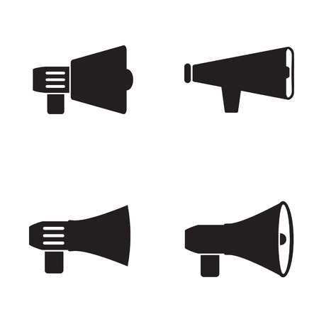 loud speaker: Megaphone icon in four variations