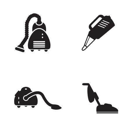 Staubsauger-Symbol in vier Varianten