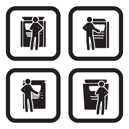 티켓 기계 또는 ATM 아이콘 네 가지 variatons