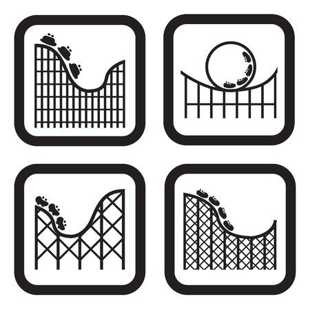 Achtbaan pictogram in vier variaties