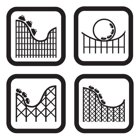 roller coaster: Roller coaster icon in four variations