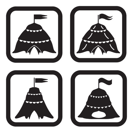 tent vector: Circus icon in four variations Illustration