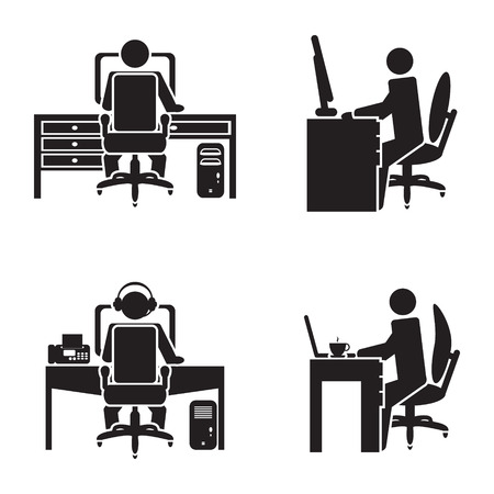 office icons: Person working on a computer vector illustration Illustration