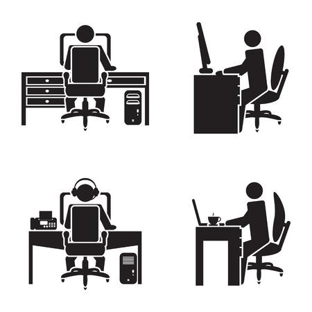 pupitre: Persona que trabaja en una ilustración vectorial equipo