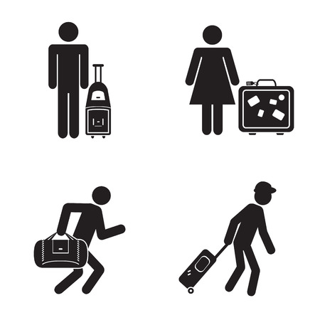 travel destination: People traveling icons illustration vector
