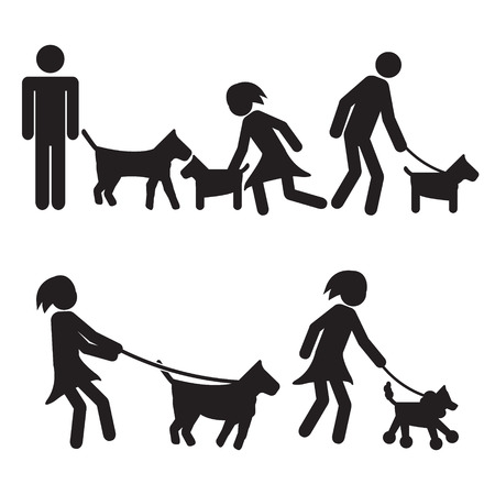 People walking dogs illustration vector
