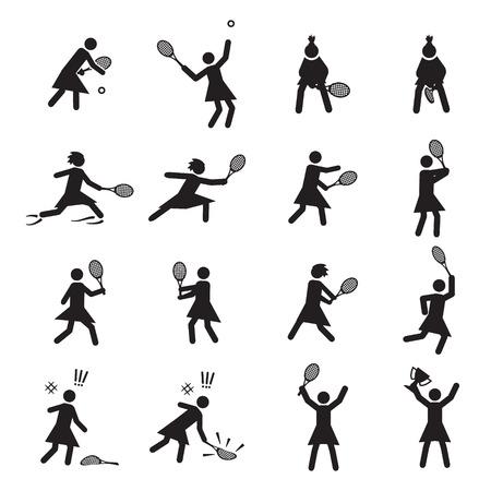postures: Tennis postures female icon set