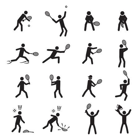 backhand: Tennis postures male icon set