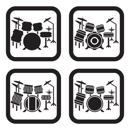 Drum set icon in four variations