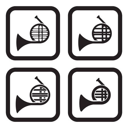 tenor: French horn icon in four variations
