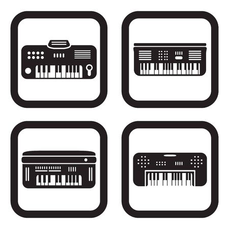 frequency modulation: Synthesizer icon in four variations Illustration