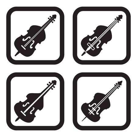 double bass: Contrabass or double bass icon in four variations